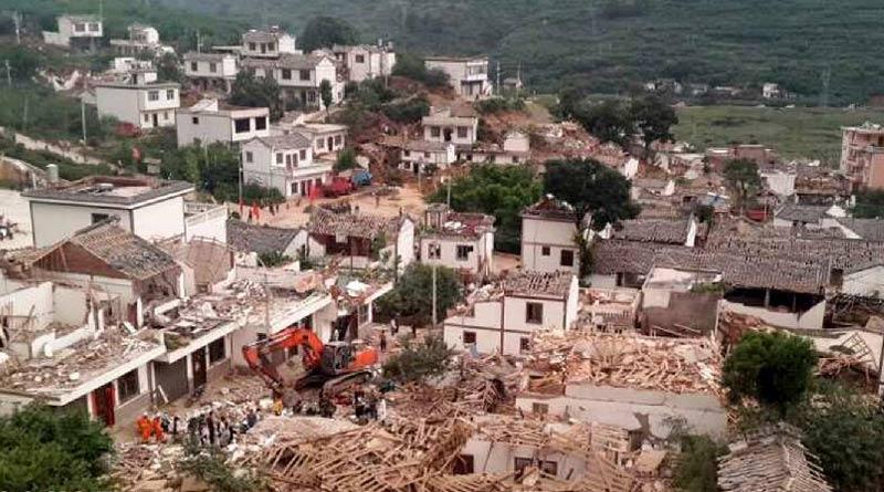 图为灾区现场. 新华网-云南鲁甸县地震图片
