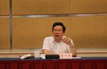 甘肅省副省長、省外宣領導小組副組長夏紅民在啟動儀式上致詞。(大公報記者肖剛 攝)